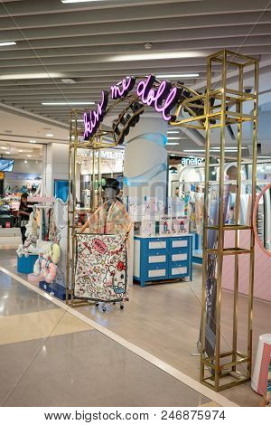 Kiss Me Doll Store At Central Rama 9, Bangkok, Thailand, Apr 30, 2018 : Fashionable Scarf With High