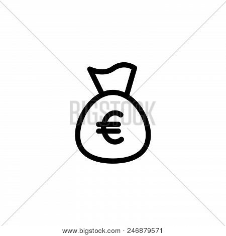 Money Bag Euro Vector Icon On White Background. Money Bag Euro Modern Icon For Graphic And Web Desig