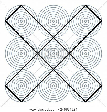 Graphic Fiction And Visual Paradox. Hypnotic Optical Illusion. Different Magical Shapes To Deceive B