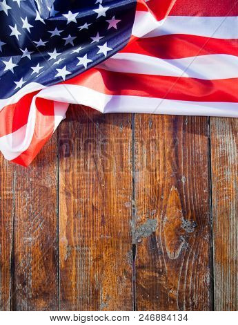 american flag on wooden background - USA - Independence day - 4th of July
