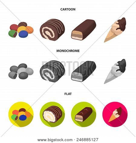 Dragee, Roll, Chocolate Bar, Ice Cream. Chocolate Desserts Set Collection Icons In Cartoon, Flat, Mo