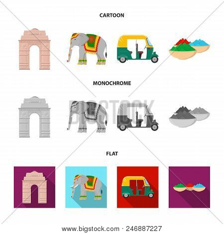 Country India Cartoon, Flat, Monochrome Icons In Set Collection For Design.india And Landmark Vector