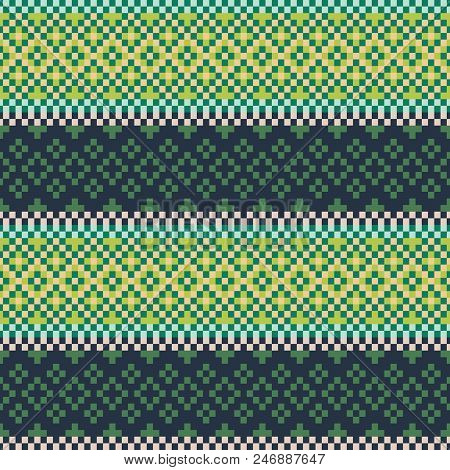 Embroidered Seamless Beaded Pattern Vector Design. Cross Stitch Pixel Background Greenery Colors.