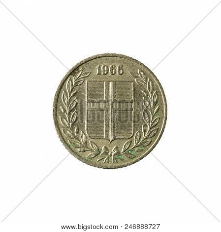 25 Icelandic Aurar Coin (1966) Reverse Isolated On White Background