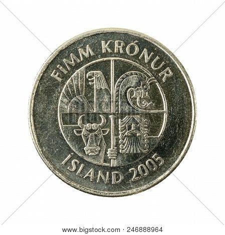 5 Icelandic Krona Coin (2005) Reverse Isolated On White Background