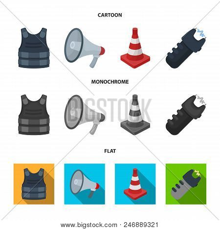 Bulletproof vest, megaphone, cone of fencing, electric shock. Police set collection icons in cartoon, flat, monochrome style vector symbol stock illustration . poster
