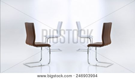 Modern leather chair set isolated