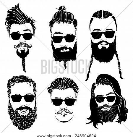 Set Hairstyles Men Vector & Photo (Free Trial)   Bigstock
