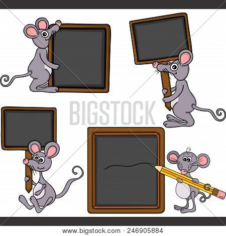 Scalable Vectorial Representing A Mouse With Blank Wooden Blackboard Set Digital Elements, Illustrat
