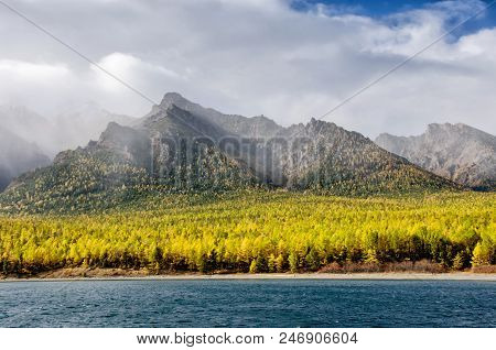 Mountains Landscape - Cloudy Sky In Pastel Colors For Your Design. Romantic Seascape - Seaside View