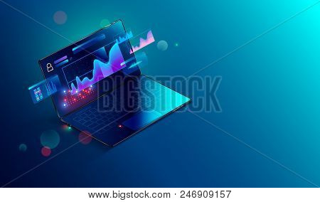 Financial Analytic And Business Infographic Elements On Screen Laptop. Finance Graphs, Analysis Data