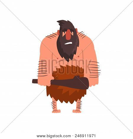 Muscular primitive caveman with club, stone age prehistoric man character cartoon vector Illustration isolated on a white background. poster