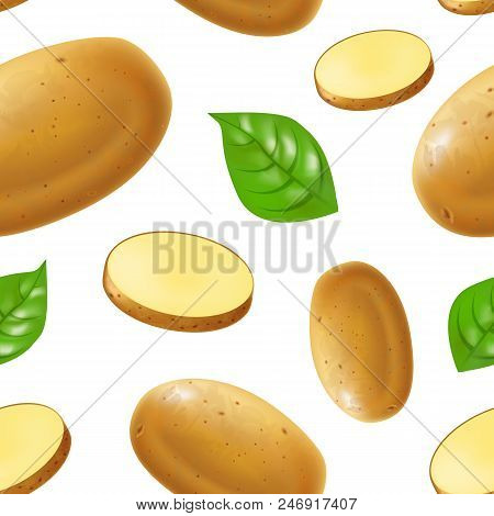 Realistic Detailed 3d Whole Potatoes And Slices Seamless Pattern Background On A White Ripe Raw Unpe