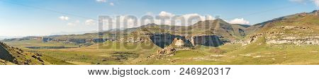 A Panoramic View Of The Landscape At Golden Gate In The Free State Province Of South Africa. The Amp