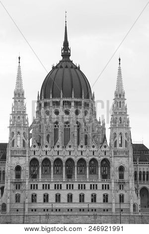 Budapest Parliament Building  In Monochrome Seen From The Danube