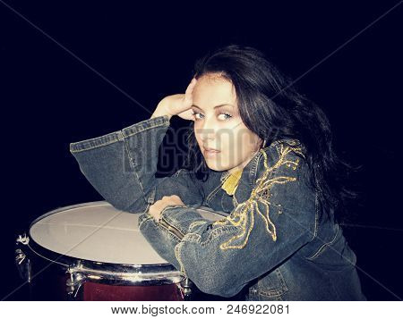Rock Style Music. Lets Play Rock. Rock Sexy Woman At Drum. Hard Rock Festival, Vintage Style