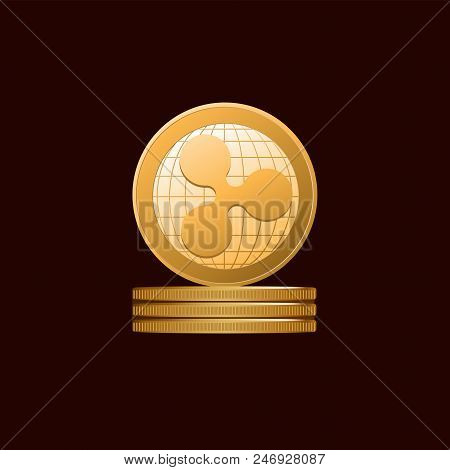 Coins Ripple. Gold Symbol Of A Physical Coin. Dark Background. Cryptography, Illustration Of Financi