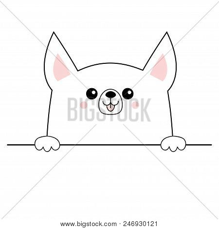 poster of Corgi dog happy face head icon. Hands paw holding table line. Cute cartoon pooch character. Contour silhouette. Kawaii animal. Funny baby puppy. Love card. Flat design Isolated White background Vector
