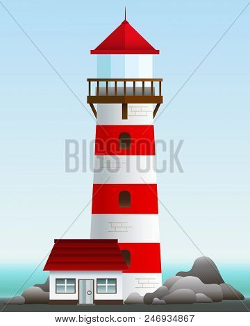 Lighthouse With A Small House On The Rock. Vector Illustration. Landscape