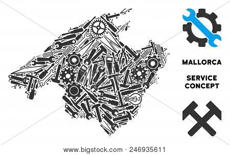 Repair Workshop Spain Mallorca Island Map Composition Of Tools. Abstract Geographic Scheme In Gray C