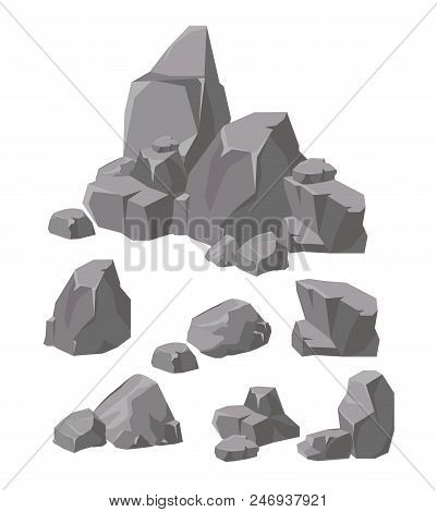 Vector Illustration Set Of Rocks And Stones Grey Colors. Cartoon Stone And Elements For Game In Flat