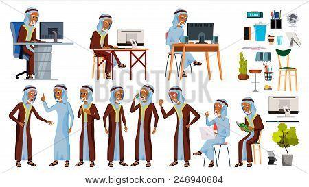 Arab Man Office Worker Vector. Ghutra. Old. Saudi, Emirates. Arabic Face Emotions, Various Gestures.