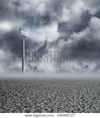 Lamp In Dull Sky. Light And Illumination Concept