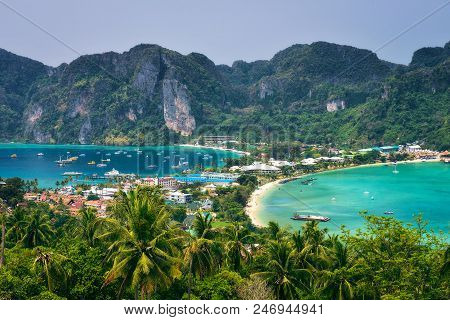 Tonsai Village And The Mountains Of Koh Phi Phi Island In The Krabi Province, Thailand