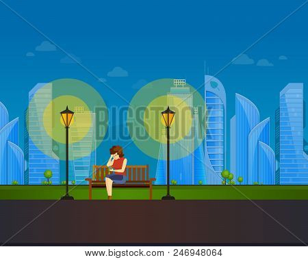 Girl In Summer Evening Park Of Rest, Walking Street. Summer City Public Park With Night Lamp. Girl R