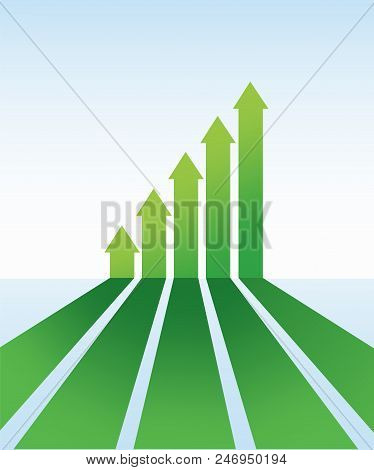 Up Arrows. Up Arrows In Flat Style. Perspective Arrows. Green Arrow. The Green Arrows In Ascending O