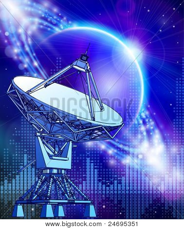 satellite dishes antenna - doppler radar, blue planet & electromagnetic waves - technology background. Bitmap copy my vector id 74035981