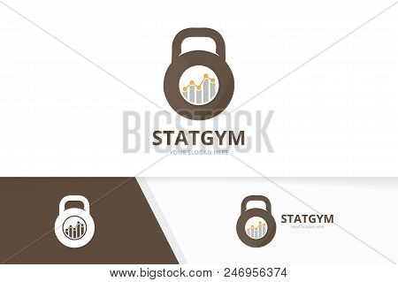 Vector Sport And Graph Logo Combination. Gym And Diagram Symbol Or Icon. Unique Fitness And Chart Lo
