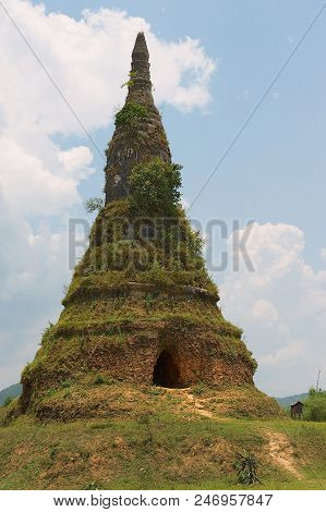 Wat Phra That Fun Or That Fun Ancient Stupa Near The Plain Of Jars In Phonsavan, Laos.