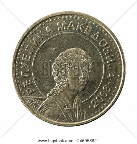 50 Macedonian Denar Coin (2008) Reverse Isolated On White Background