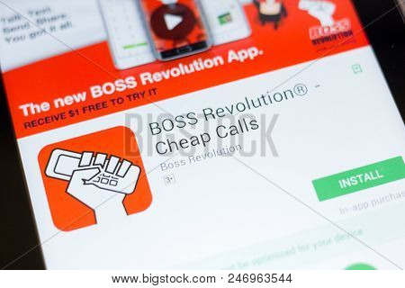 Ryazan, Russia - June 24, 2018: Boss Revolution - Cheap Calls Mobile App On The Display Of Tablet Pc