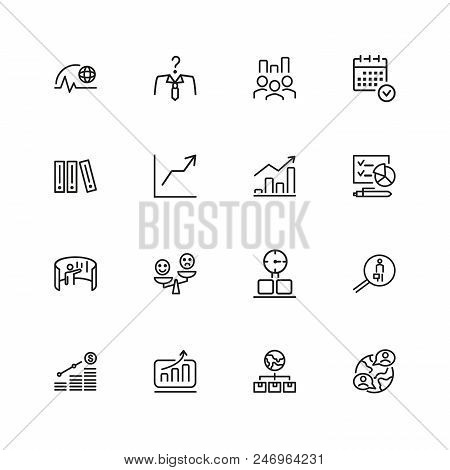 Business Strategy Icons. Set Of  Line Icons. Growth Chart, Promotion, Plan. Management Concept. Vect