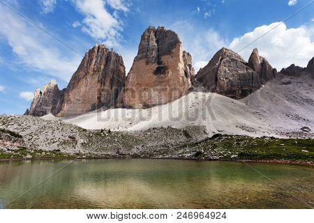 Drei Zinnen Or Tre Cime Di Lavaredo With Small Lake, Sextener Dolomiten Or Dolomiti Di Sesto, South