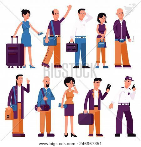 Set Of People Men And Women With Bags And Suitcases In Various Poses. Flat Style.