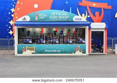 St. Petersburg, Russia - June 18, 2018: Fifa World Cup Russia 2018 Fan Shop. Football World Cup 2018