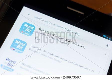 Ryazan, Russia - June 24, 2018: Wordbit Ingles Icon On The List Of Mobile Apps