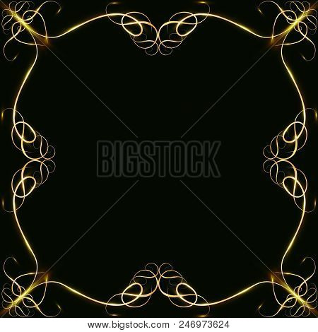 Gold frames with glare and radiance, blank for a card, isolated on black, wedding card,copy space poster