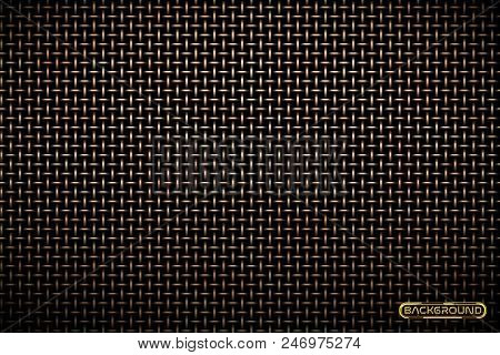 Vector Pattern Of Brass Metal Grid Techno Background. Iron Grill Industrial Texture. Web Page Fill P
