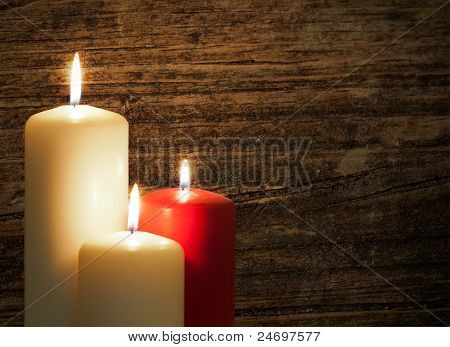 Candles Over Wood