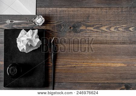 Writer Workplace With Tools And Copybook On Wooden Table Background Top View Mock Up