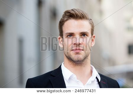 Businessman Stand On Urban Background. Confident Man In Formal Wear Outdoor. This Is My City. Male G
