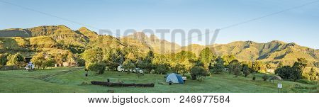 Monks Cowl, South Africa - March 19, 2018: A Tent, Caravan And Motorhomes At The Camping Site At Mon
