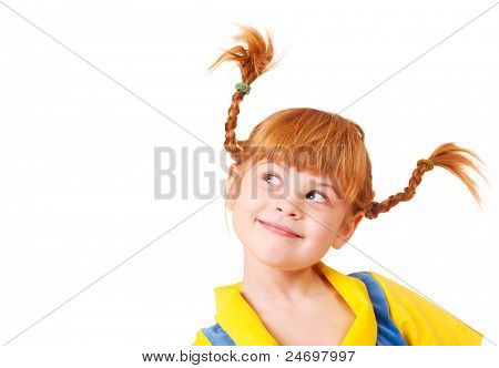 Cute cunning little girl with red braided hair