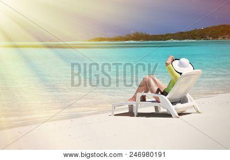 Girl on the beach. Great Exuma, Bahamas