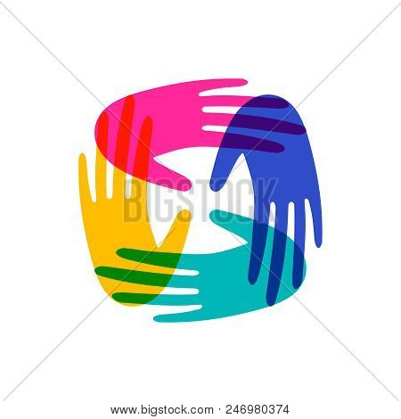Colorful Human Hands Together. Community Team Concept Illustration For Culture Diversity Or Teamwork