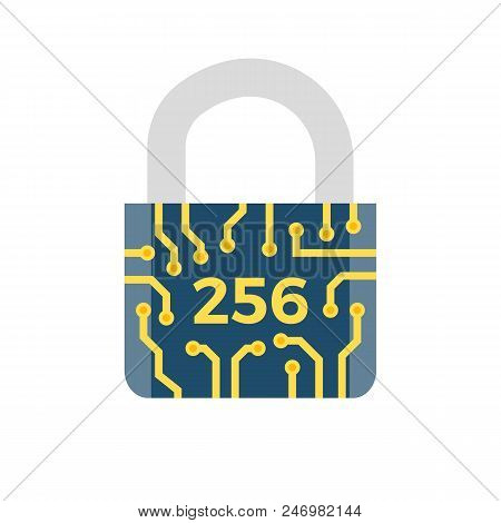 Sha 256 Concept Flat Related Vector Icon. Isolated On White Background.